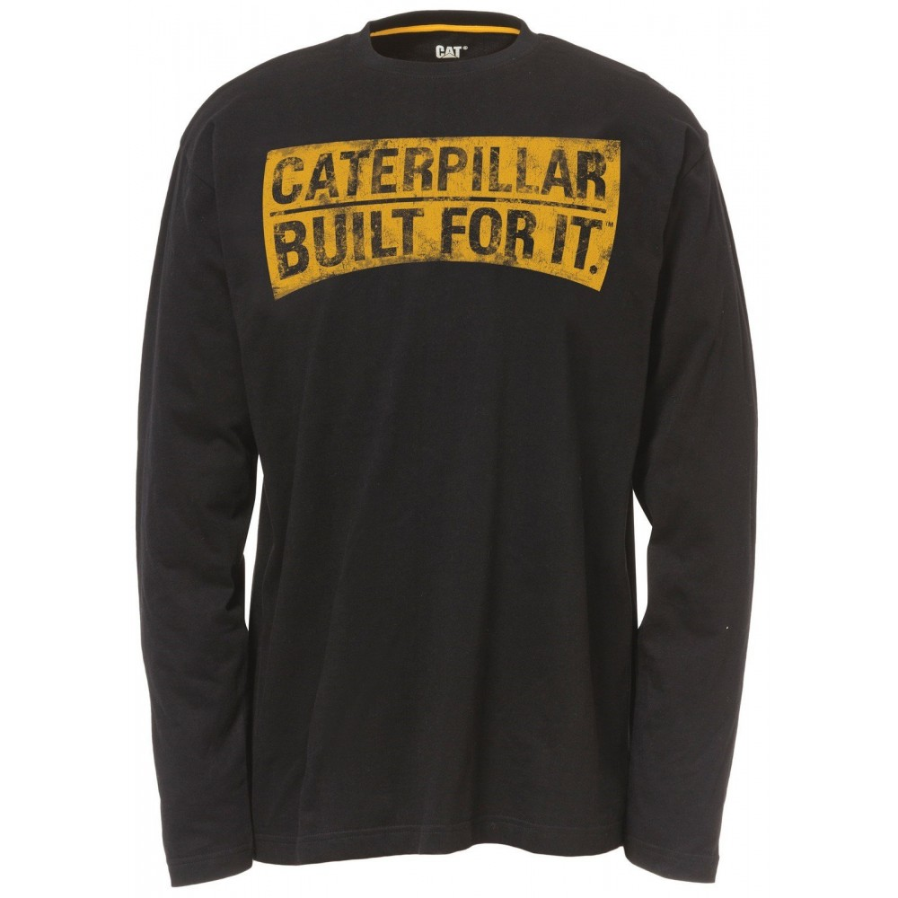 CAT Black Curved Banner Long Sleeve T-Shirt
