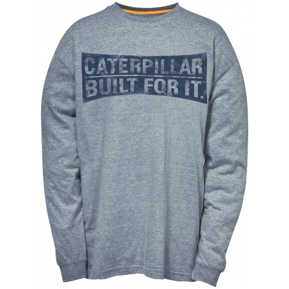 CAT Dark Heather Grey Curved Banner Long Sleeve T-Shirt