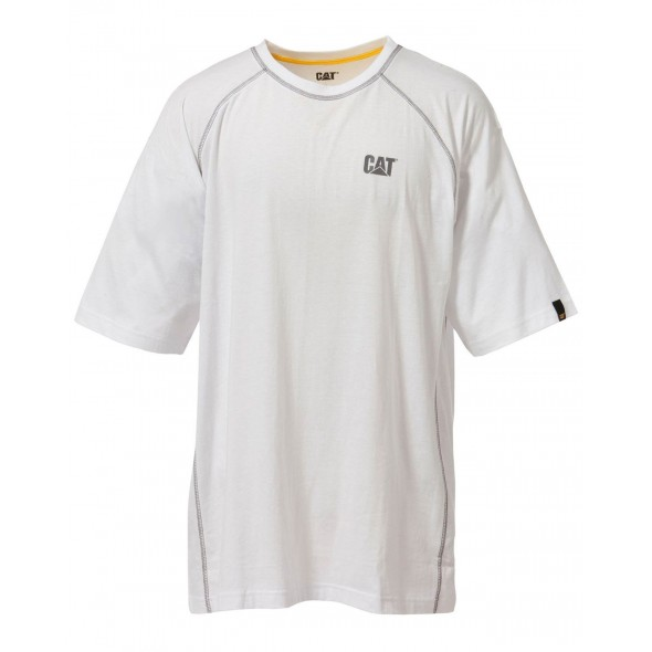 CAT White Heather Performance Shorts Sleeve T-Shirt