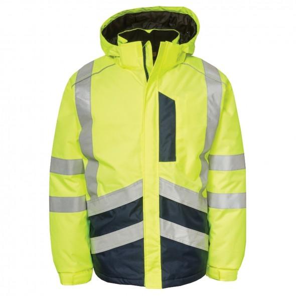 CAT Yellow/Navy HI-VIS Waterproof Jacket