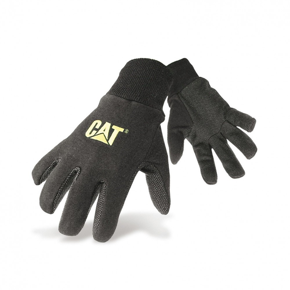 CAT Black Jersey Dotted Glove Large