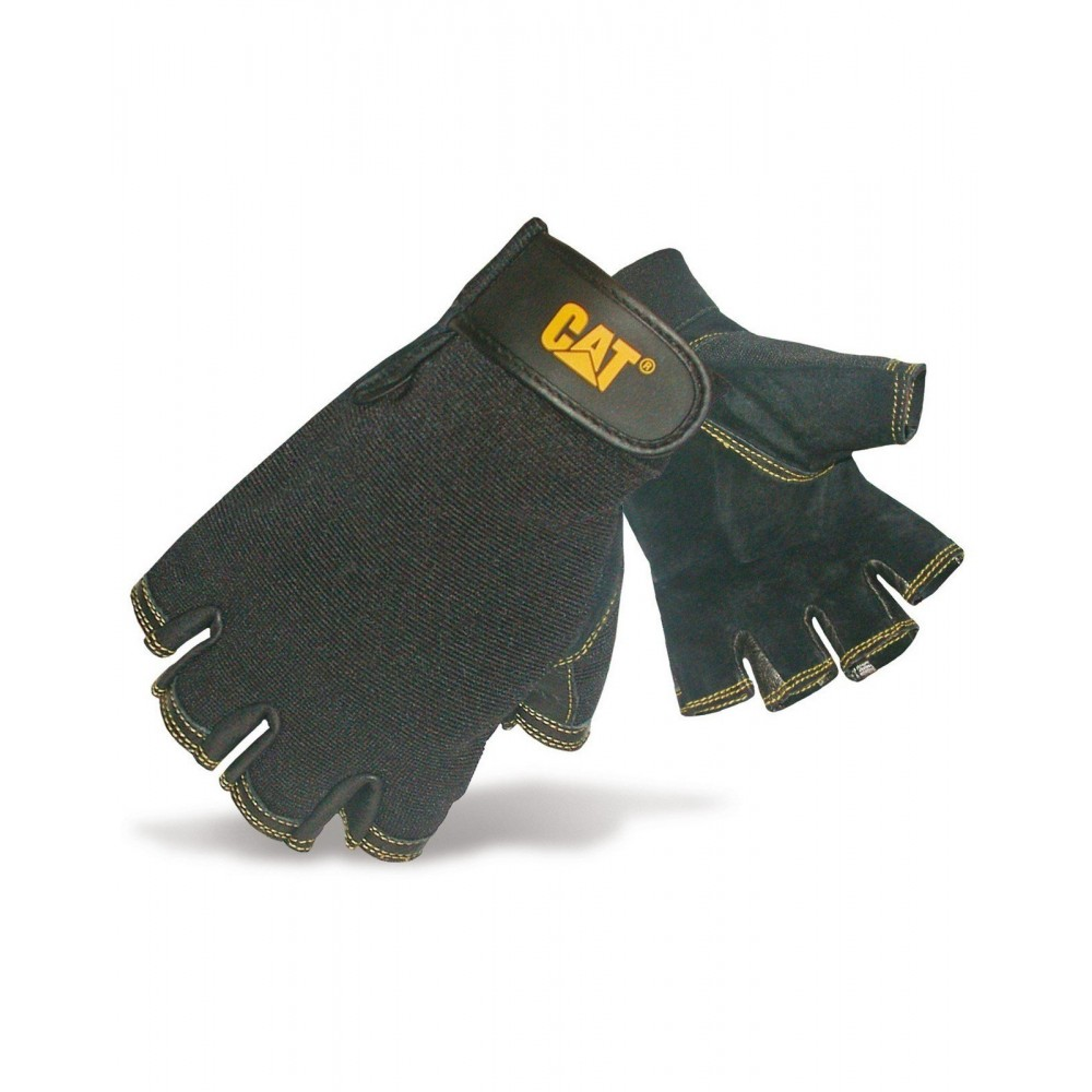 CAT Black Leather Fingerless Gloves