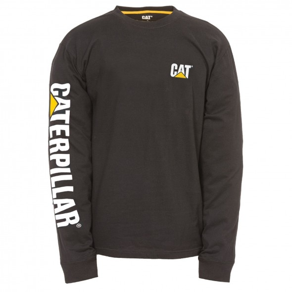CAT Black Trademark Banner Long Sleeve T-Shirt