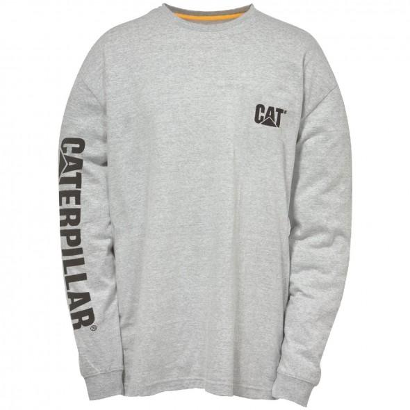 CAT Grey Trademark Banner Long Sleeve T-Shirt