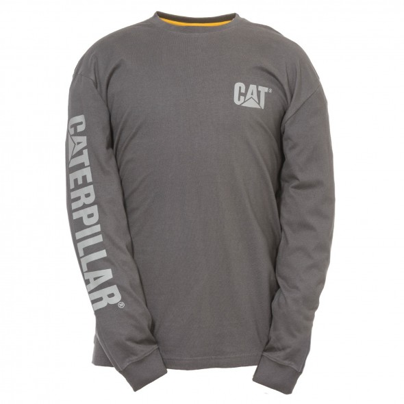CAT Dark Heather Trademark Banner Long Sleeve T-Shirt