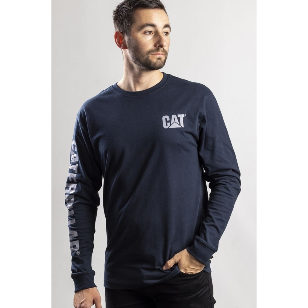 CAT Dark Marine Trademark Banner Long Sleeve T-Shirt