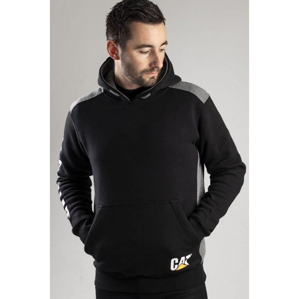 CAT Black Logo Panel Hooded Sweatshirt