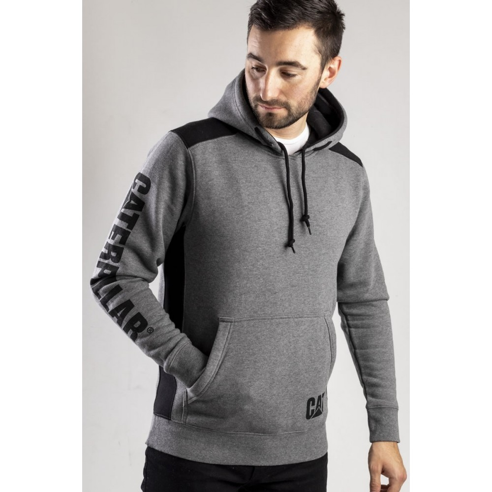 CAT Dark Heather Grey Logo Panel Hooded Sweatshirt